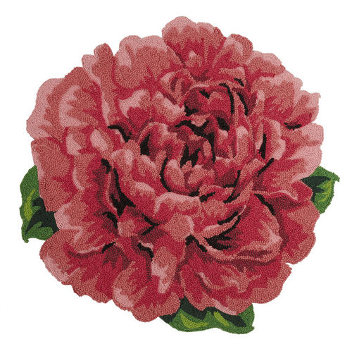 Peony Flower Shaped Wool Hooked Rug